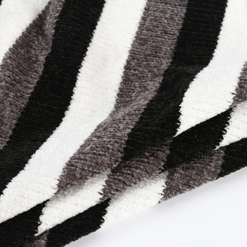Three colors striped black and white knit chenille garment 100% polyester fabric