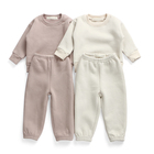 2021 New Babies Clothes High Quality Unisex Fleece Solid Color Cozy Sport Suit Two-piece Baby Kids Winter clothing set Tracksuit