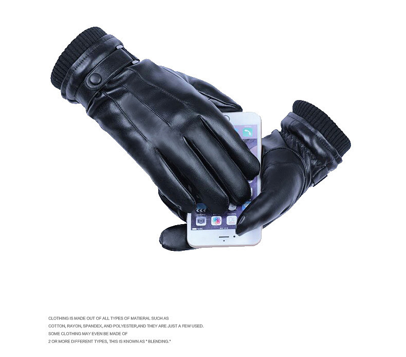 Men's Winter Polyurethane Leather Thermal and Wind-proof Touch Screen Locomotive Driving Fashion Car Driving Glove