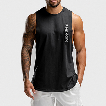 New Arrival Men's Curved Hem Sleeveless T-shirt With Mesh Fabric Block In Heat Transfer Printing
