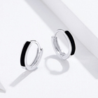 Ladies Earrings 2021 Ladies Earrings Enamel Black Line Simple Huggie 925 Silver Hoop Earrings Jewelry Wholesale