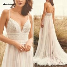 Свадебное платье на бретельках в стиле бохо, кружевное свадебное платье цвета шампанского с v-образным вырезом 2020, белое платье принцессы de ...(Китай)