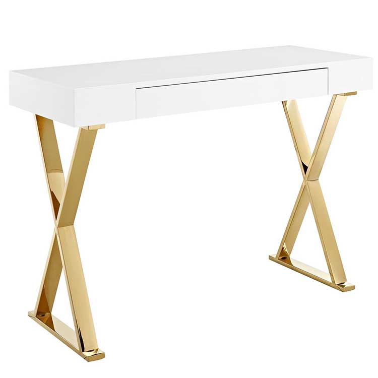 Executive Desk Modern Furniture Home Gold Metal And Stainless Steel Leg Wood Frame White Gloss Small Office Desks Table Luxury