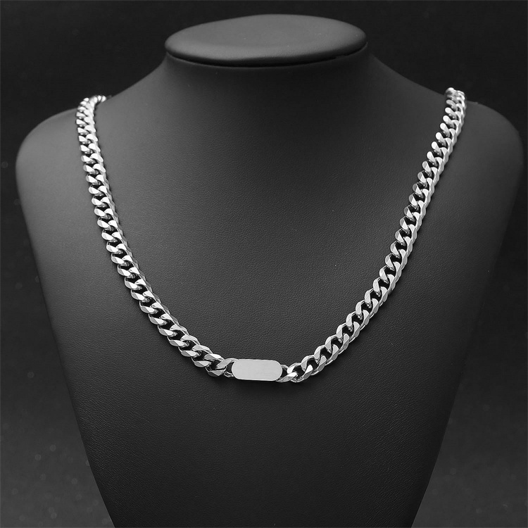 Custom cuban link chain necklaces, baguette maimi cuban chain anklet bracelet, stainless steel gold plated jewelry sets