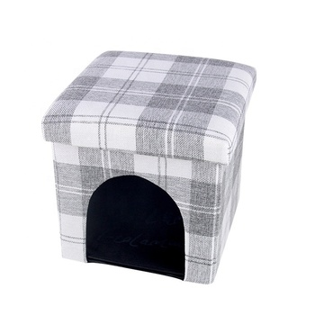 Polyester Fabric Square Folding Storage Ottoman Bed Stool Pet bed