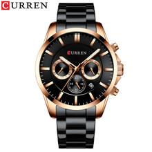 Спортивные часы CURREN, мужские Модные кварцевые наручные часы, деловые, нежные, из нержавеющей стали, военные(Китай)