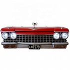 1.4M Vintage Iron Wall decoration Red Car Front 3D Metal Storage Box Decoration With Lights Locker Home Bar Cafe Shop Decoration