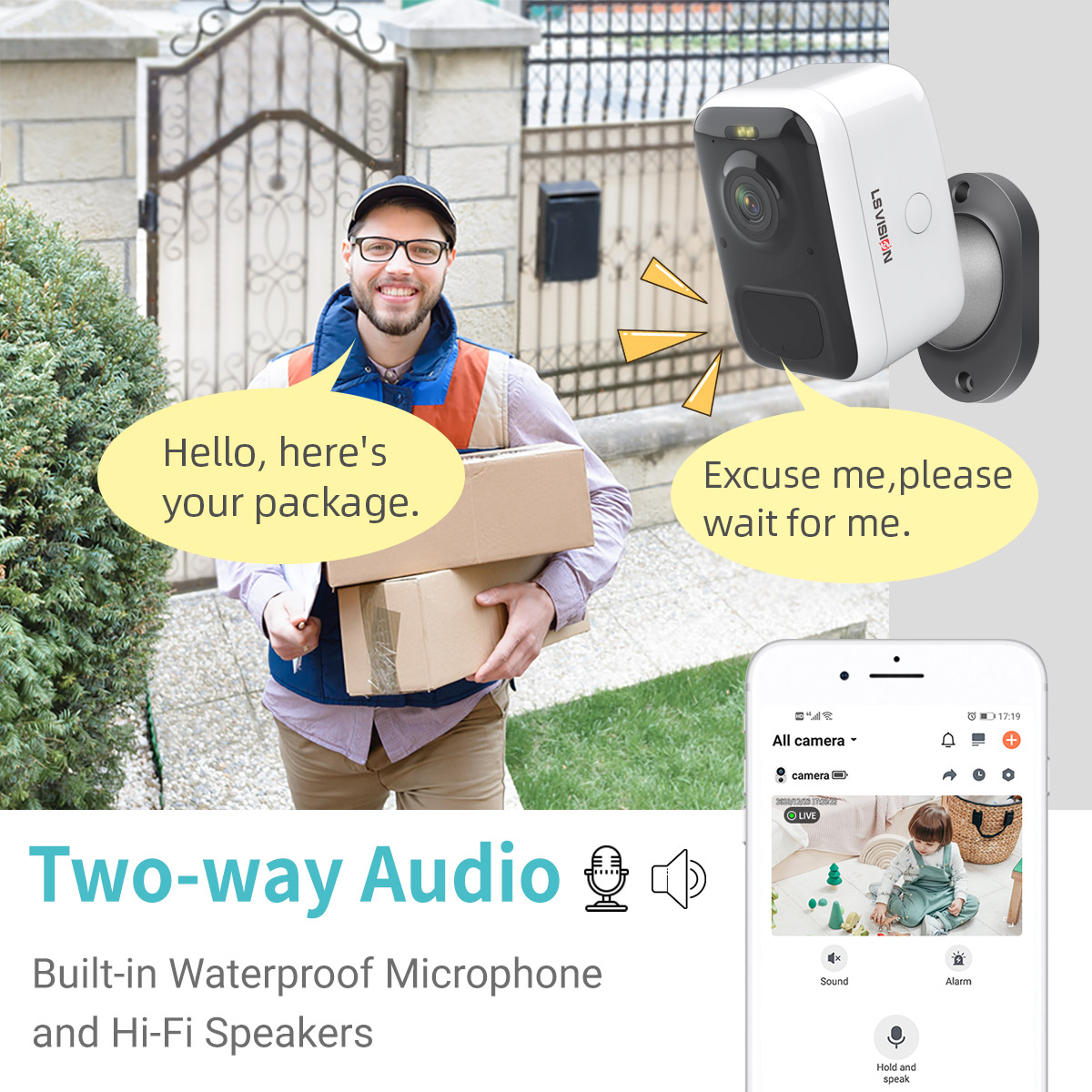 1080P Wide Angle Low Power Consumption PIR Alarm WDR IR Waterproof Battery Operated Wifi Smart Video Doorbell