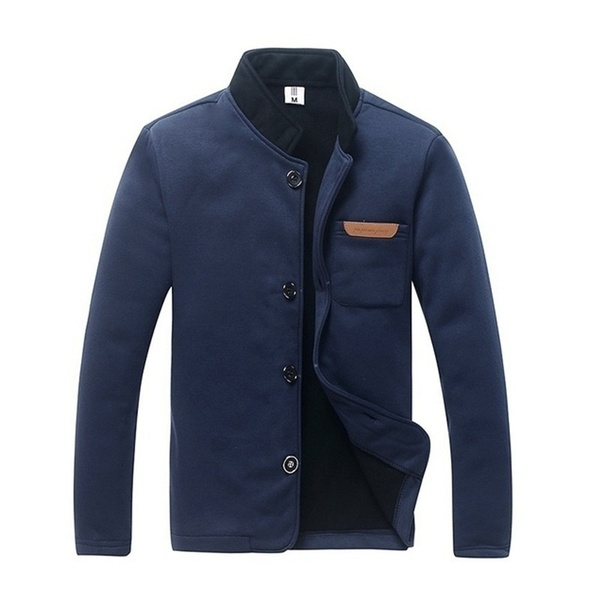 Spring and Autumn Fashion Casual Men's Slim Edition Single Buckle Solid Color Long Sleeve Sweater Collar Jacket