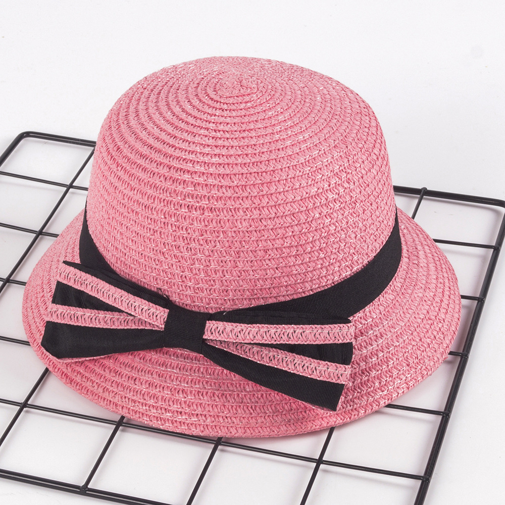 Factory customization breathable sunshade hat fisherman hat bow sunscreen hats children straw hat