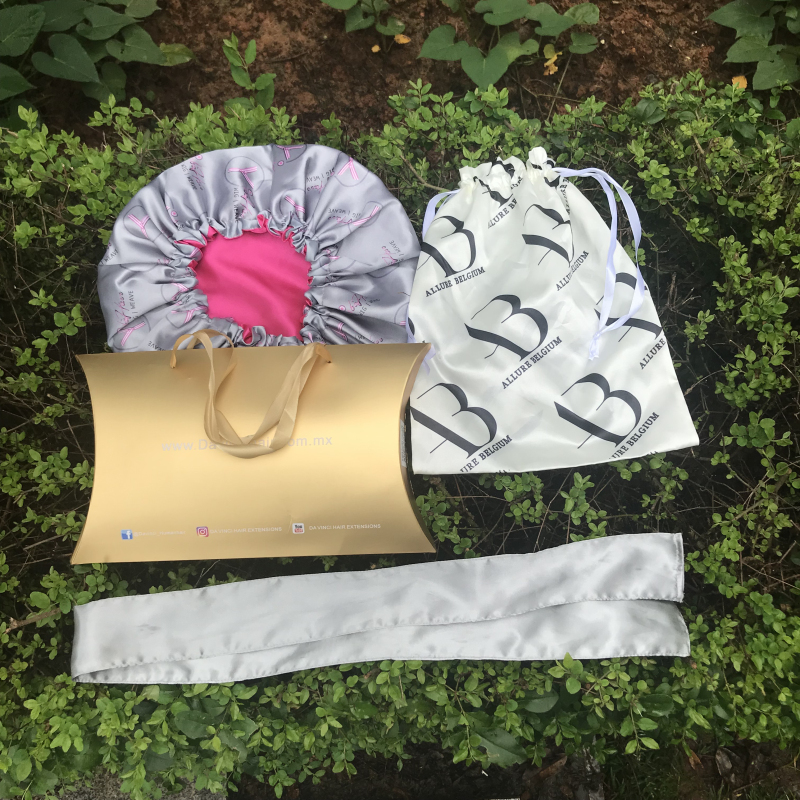Customized Brand Logo Printing Satin Cap Silk Night Cap Hat Bonnrt