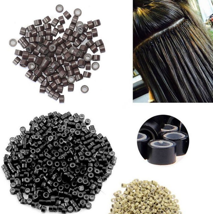 In Stock Fast shipping 500pcs/box silicone lined micro beads micro beads silicone silicone micro beads for hair extensions