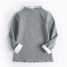 Футболка для мальчиков и девочек детская футболка на подкладке осенне-зимняя футболка с длинными рукавами для детей ясельного возраста, те...(Китай)