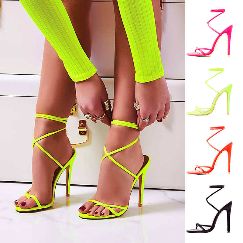 2021 new arrivals open toe sexy shoes lace up thin high heels stiletto sandals