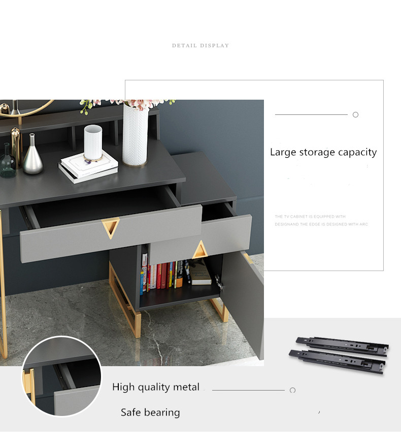 2021 Hot sale beauty living room hotel grey dressing desk set wooden rose gold makeup vanity table
