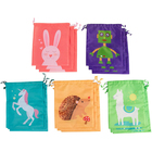 Print Bag Party Kids Cute Waterproof Durable Polyester Fabric Animal Print Drawstring Bag For Party