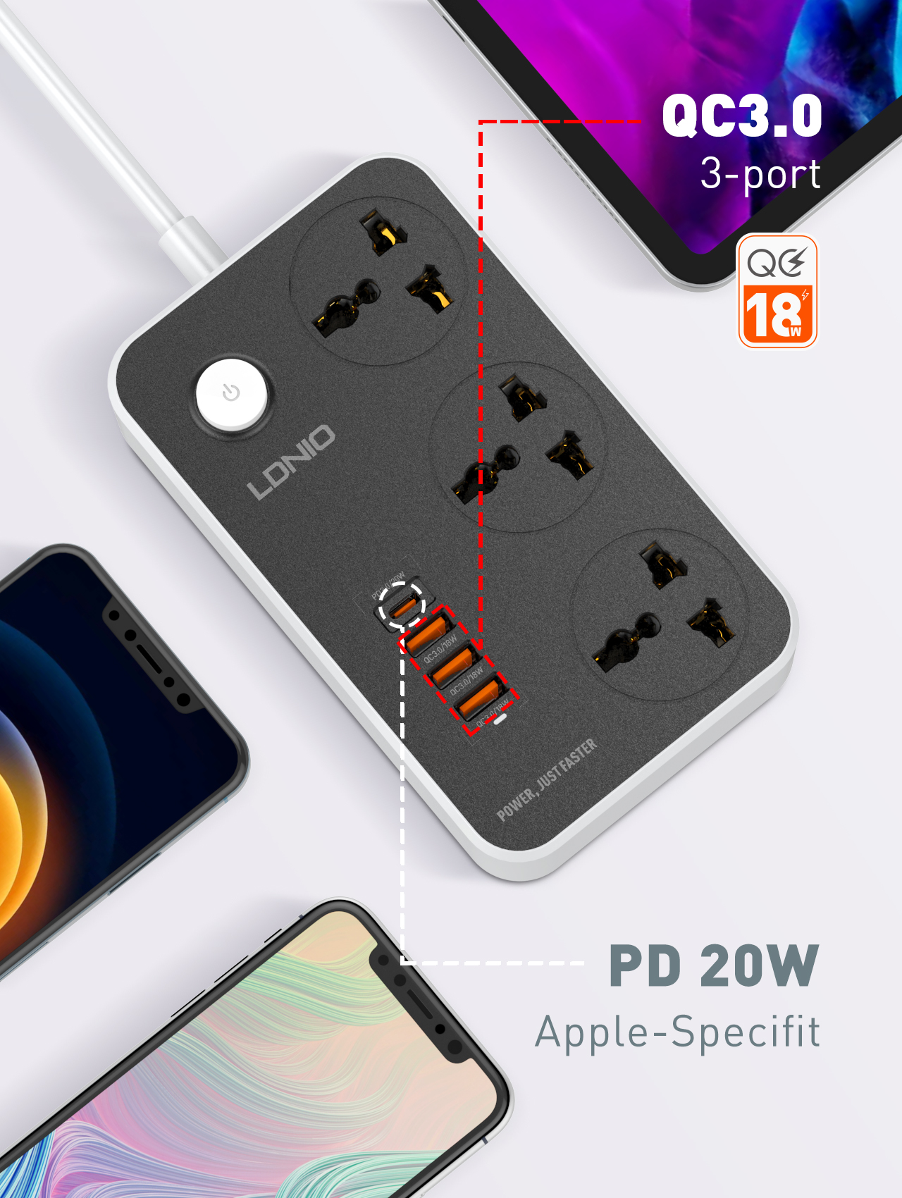 LDNIO 20W PD USB Charger Extension Cord AC Outlet Switch Plug Socket Universal Power Strip