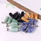 Natural Agate Healing Crystal stones black obsidian Round long drop pendant Necklace for decoration gift