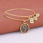 Bracelet A-Z Gold Initial Letter Charm Bracelet Expandable Bracelet Alphabet Bangle Charms Adjustable Wire Wrap Cuff Bangle Women