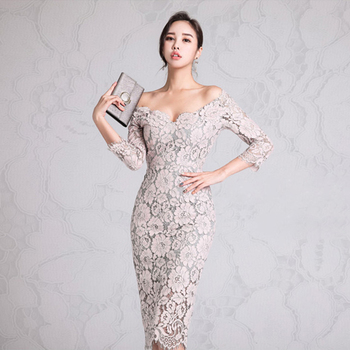 Fashion Cocktail Sexy Off the Shoulder Sheath Floral Lace Casual Bandage Bodycon Dress Women Lady Elegant Evening Party