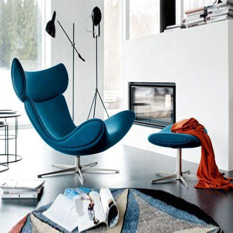 new modern style  blue leather chaise lounge chair with ottoman rattan intex lounge chair