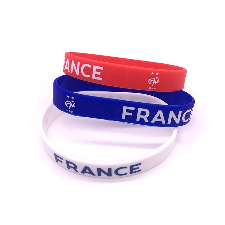 Anpassen silikon armband silikon armband gummi frauen armband armband seide druck/prägung/geprägt logo färbung bands