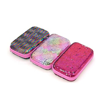 Hardtop Pencil Cases Hard EVA Glitter Craft Box Two Side Reversible Sequins Pencil Case Pen Organizer for School Girls