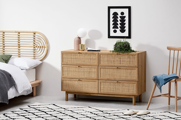 Rattan Furniture Modern Nordic Living Room TV Stand Kitchen 6 Wooden Chest Drawers Storage Cabinet