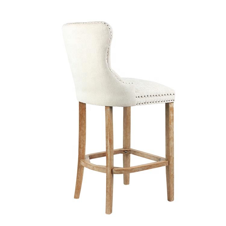 Cheap Modern Design Furniture Counter High Wooden Restaurant Tufted Upholstered Bar Chair