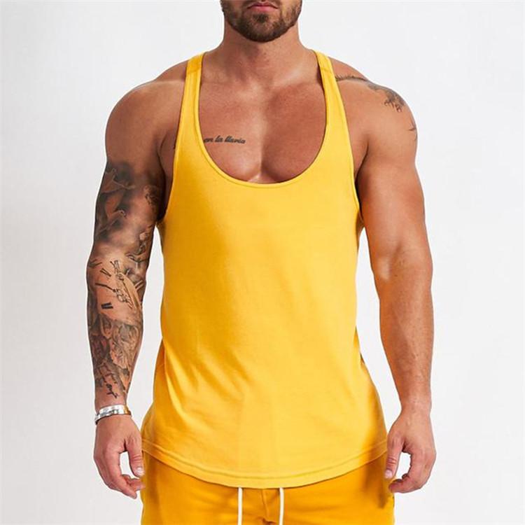Wholesale OEM custom men's sports vest muscle bodybuilding tank top loose fit stringer training tank tops