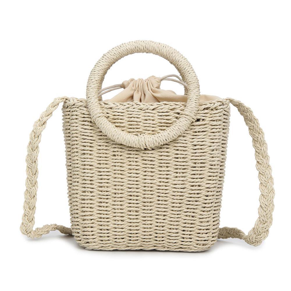 Женская сумка, круглая соломенная богемная пляжная сумка на плечо, ручная работа, тканая круглая ротанговая сумка, летняя повседневная сумк...(Китай)