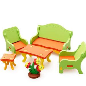 Children Educational Living Room Furniture Decoration Model Toys DIY Assemble 3D Puzzle Wooden