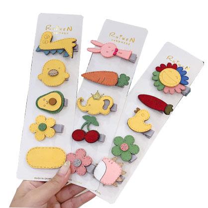 Модные аксессуары для девочек, 5 шт./компл., новый дизайн, милые Цветные Цветочные Фрукты, авокадо, детские заколки для волос