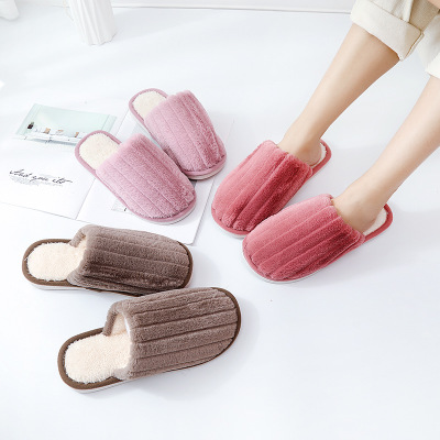 Cute plush cotton slippers couple thermal home indoor cotton slippers man