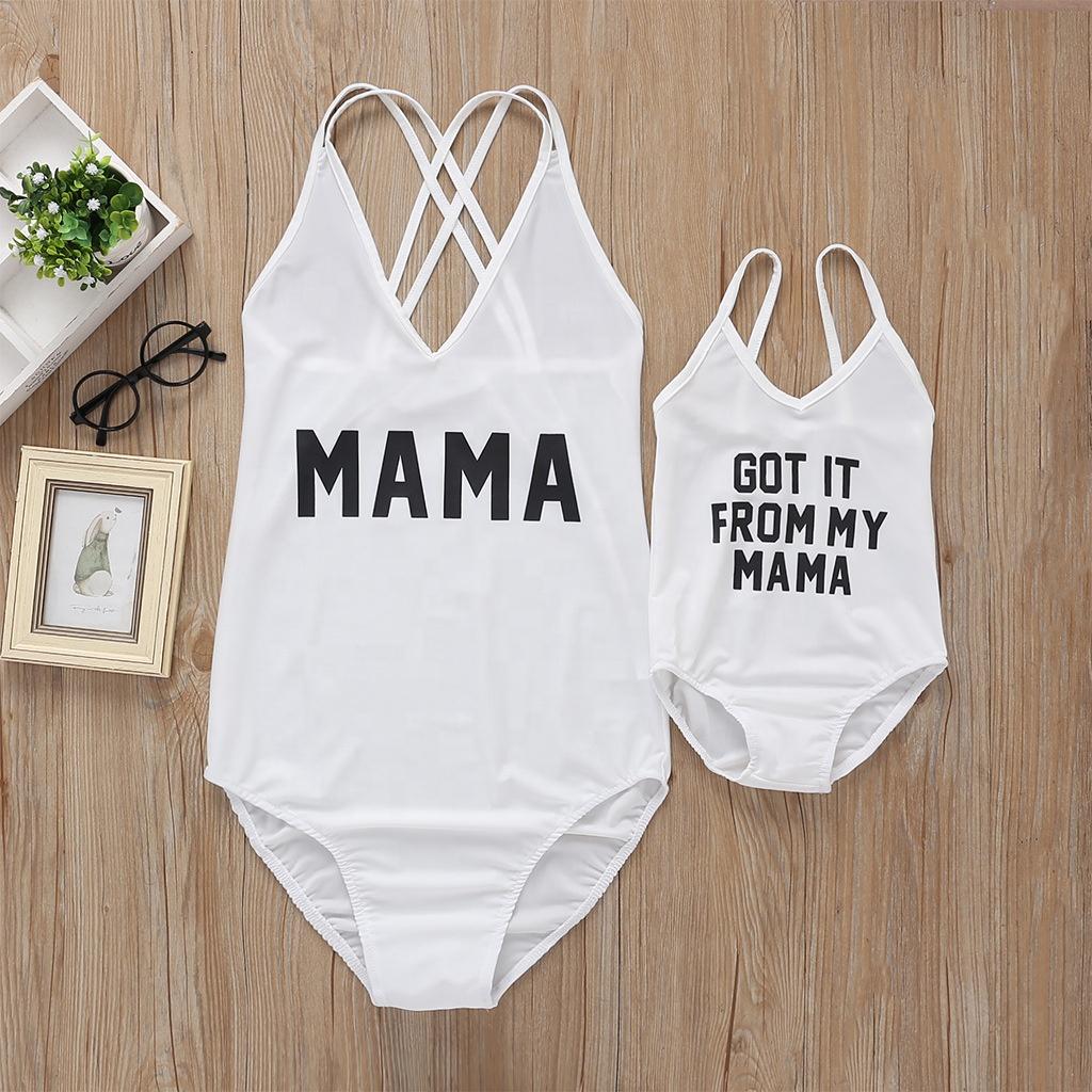 Купальник для мамы и дочери с надписью, бикини для мамы и ребенка