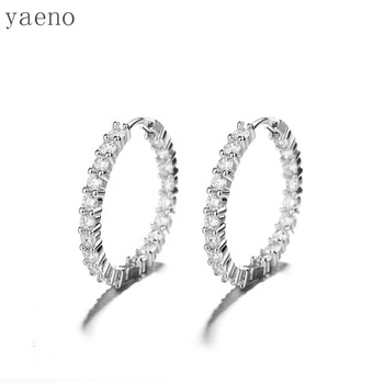 Women Wedding Zirconia 925 Sterling Silver Hoop Earrings