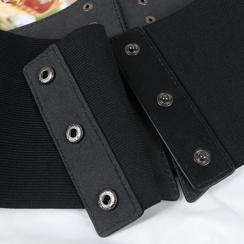 Ladies Tight Elastic Bandage Bra Wide Waistband PU Leather Slimming Belt Elastic Waistband