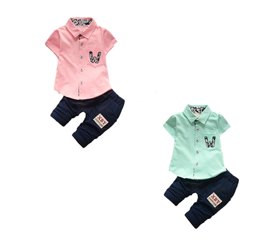 Ss-8b Korean Kids Clothes Wholesale Chinese Clothing Manufacturers Collar  Short Sleeve Shirt Baby Clothes Set - Buy Kids Clothes,Baby Clothes,Boys