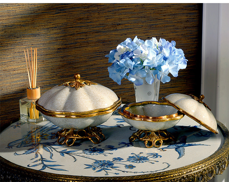 2021 newest designs antique luxury brass ceramic fruit candy bowl for home hotel restaurant wedding decorations