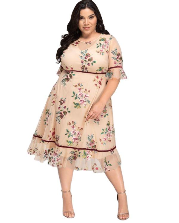 New Design Elegant Fashion Boho Dress Wildflower Embroidered Dress Bohemian Style Women Plus Size Dresses