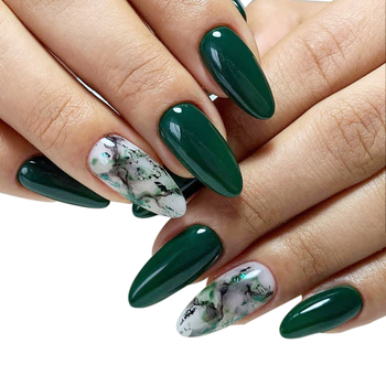 custom luxury beauty matte green and red marble printing acrylic long stiletto press on false diy 3d nail art finger nails