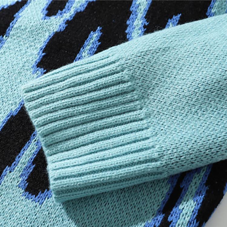 Autumn Winter Custom Logo Jacquard Cotton Wool Knitwear Custom Knitted Mens Sweater