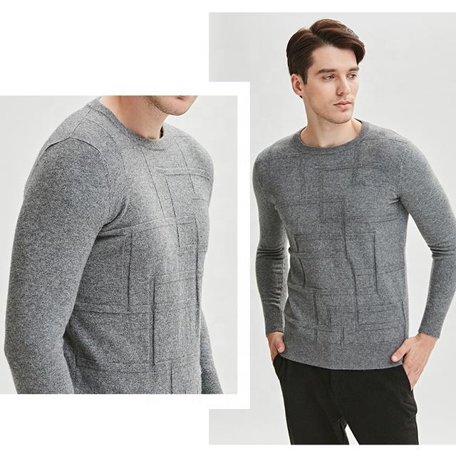 Оптовая продажа, супер тонкий мужской свитер на заказ, модный вязаный кашемировый шерстяной зимний свитер с круглым вырезом, мужской свитер с длинным рукавом