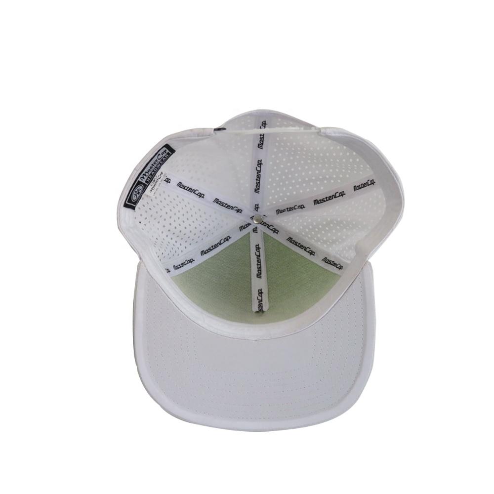 Custom flat brim sports cap laser cut cap breathable snapback cap with spandex fabric