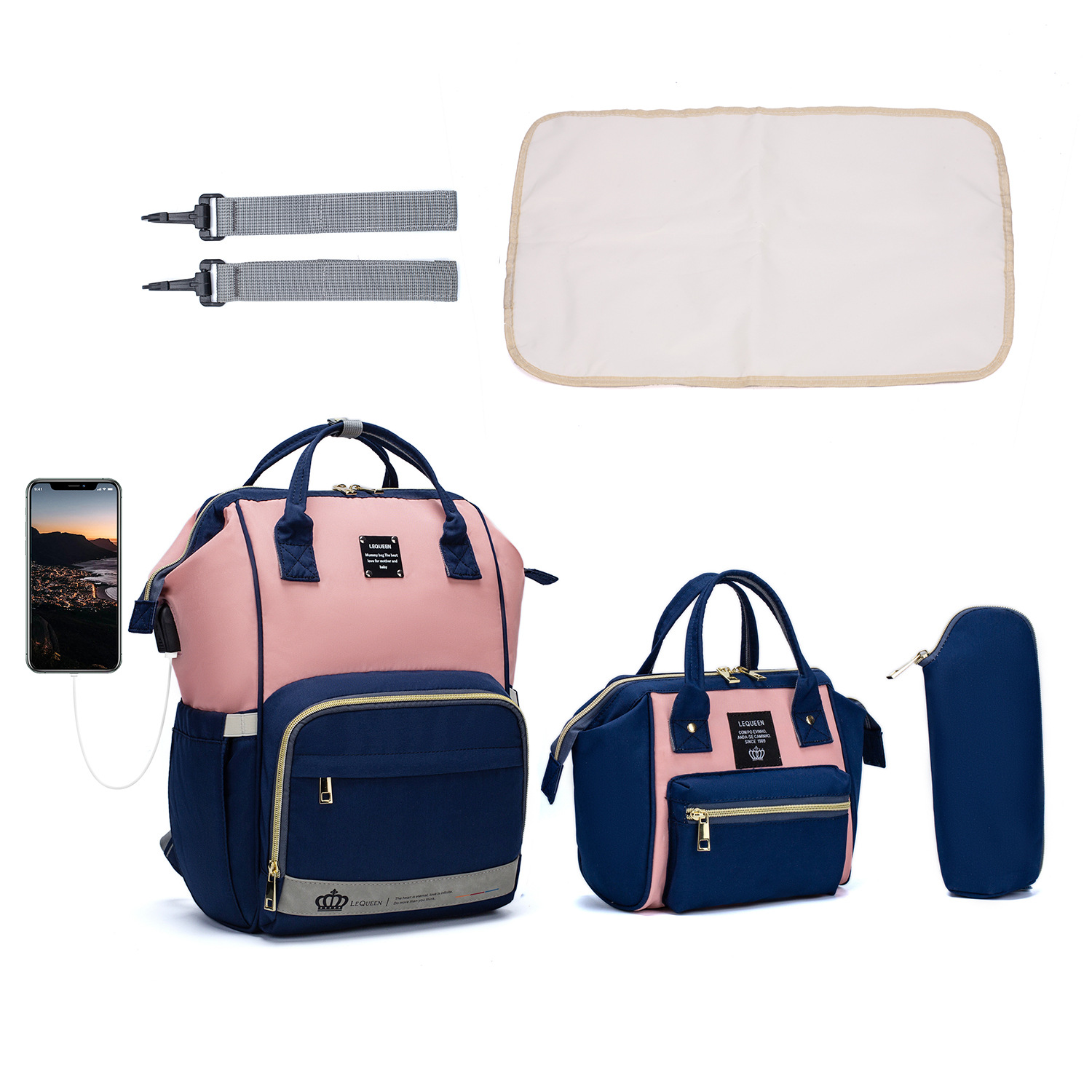 2021 Multifunctional Travel 5 IN 1 Diaper Bag Changing Station Baby Large Capacity Diaper Bags  Backpack For Mothers