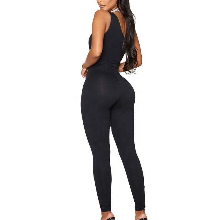 One Shoulder Customized Casual Solid Color Women Sexy Sleeveless Bodycon Jumpsuit