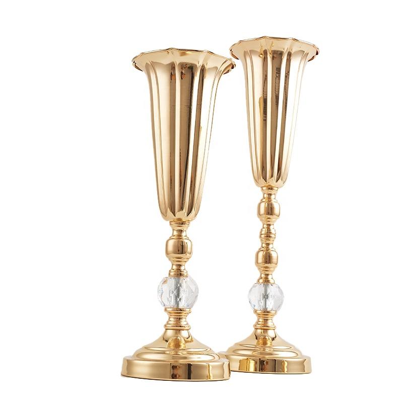 Metal Wedding Flower Trumpet Vase with Crystal Bead