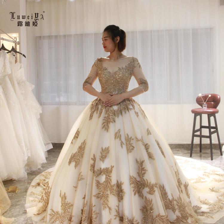 Женское свадебное платье с блестками LUWEIYA, золотистое кружевное платье большого размера с блестками на лето 2019