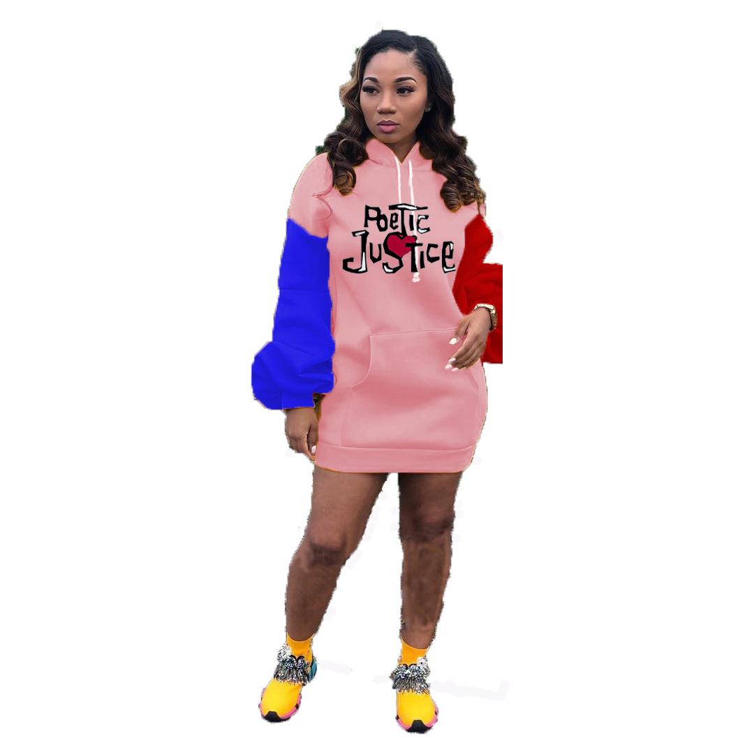 MXN 2020 Fashion fall clothing embroidery contrast color pockets pullover casual hoodies women puff long sleeve hoodies dress
