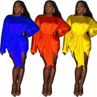 Amazon top seller smooth fabric soft silk african women dresses sashes ladies official dresses plus size short club skirts sexy